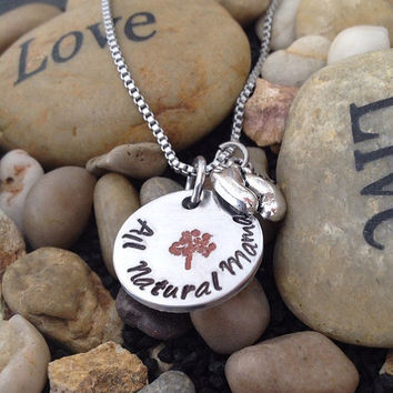Natural Mothers Necklace - Crunchy mothers necklace with tree of life stamp.