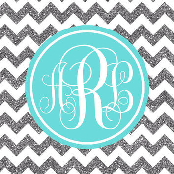 iPad Monogram Wallpaper Blue and Silver Glitter Chevron