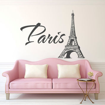 Paris Eiffel Tower Wall Decal- Paris Vinyl Wall Decal Letters- Paris Bedroom Decor- Paris France Bedroom Living Room Family Home Decor 058