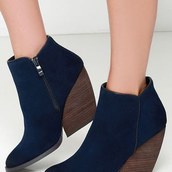 Very Volatile Whitby Navy Suede Leather Wedge Booties