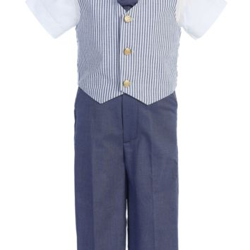 Blue Seersucker Vest & Pants Easter Spring Outfit 4 Pc Set (Baby 6 months to Boys Size 7)