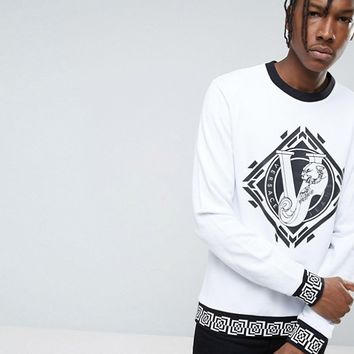 Versace Jeans Sweatshirt In White With Greek Key Print Logo at asos.com