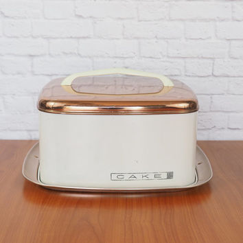1950s Lincoln Beautyware Copper and White Enamel Cake Saver / Vintage Cake Tin Carrier