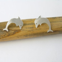 Silver Earrings  Dolphin Studs  Hand Cut by DaliaShamirJewelry