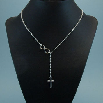 Cross And Infinity Lariat Necklace, Sterling Silver Necklace, Silver Lariat, Wedding Jewelry