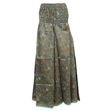 Mogul Women's Divided Long Skirts Brown Vintage Silk Sari Maxi Skirts - Walmart.com