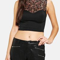 Urban Outfitters - Tela High-Neck Lace Cropped Top
