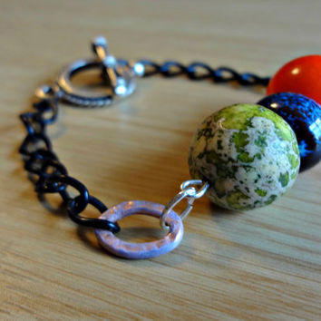 Black Chain Colourful ThreeBead Astronomer by EudaimoniaJewelry
