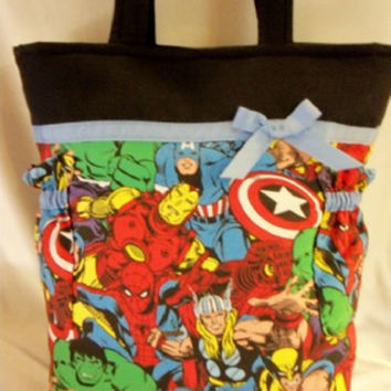 Made from Marvel Super Hero comic book fabric handmade duffle diaper bag or tote bag great for all Designs by Keri