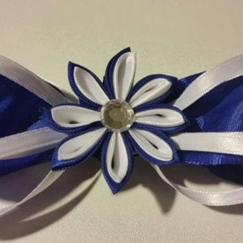 Blue and White Kanzashi Flower Hair Bow Barrette. Cheerleader Cheerleading Hair Accessories Hair Accessory Gifts for Her Present Birthday