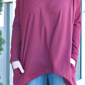 Just In Time Tunic - Burgundy