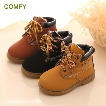 Infant Girl Winter Leather Boots/Baby Warm Snow Boots