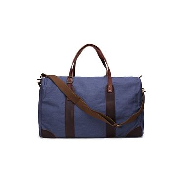 BLUESEBE LEATHER TRIMMED WAXED CANVAS TRAVEL DUFFLE BAG YD2095