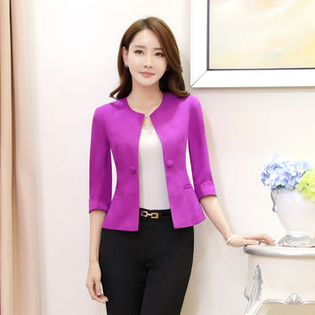 Elegant Purple Slim Fashion Formal OL Styles Blazer Coat Jackets Ladies Office Blazers Female Tops Outwear Uniforms Plus Size
