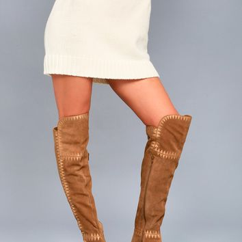 Moon Tan Suede Leather Embroidered Over the Knee Boots