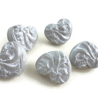Heart buttons gray with white polymer clay shank buttons