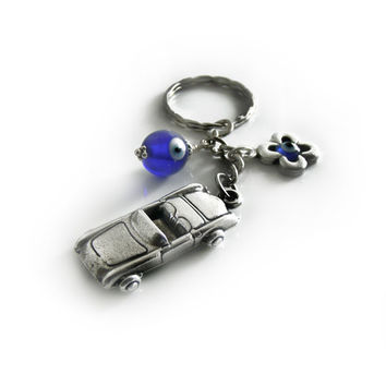 Evil Eye keychain Keyring, Blue Glass Eye Bead, Silver Tone Car Charm, Greek Mati Keychain, New Car Gift