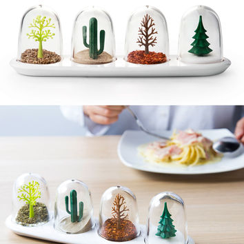4 Seasons of the Forest Tabletop Shaker Set