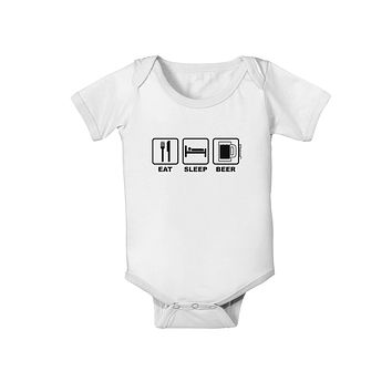 Eat Sleep Beer Design Baby Romper Bodysuit by TooLoud