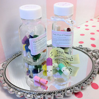 Kawaii Message Happy Pills - 2 Week Supply - Cute miniature happy pill medicine with happy face - message in a bottle
