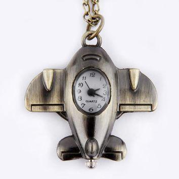 Antique Bronze Small Aircraft Design Stylish and unique design Anniversary Pendant Pocket Watch Necklace Gift  #45