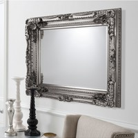 Carved Louis Mirror Silver | Silver French Style Mirror | Elegant French Mirror | Louis Style Mirror
