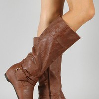 Amar-4A Knotted Round Toe Knee High Wedge Boot