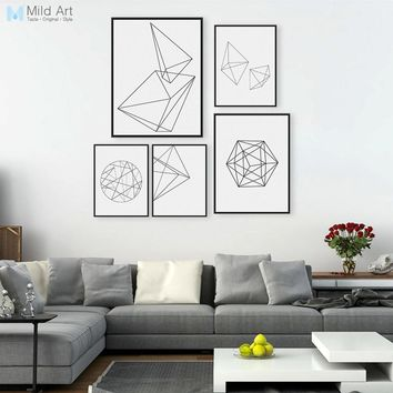 Minimalist Black White Geometric Line Shape Poster Print Modern Abstract Wall Art Picture Nordic Style Home Deco Canvas Painting