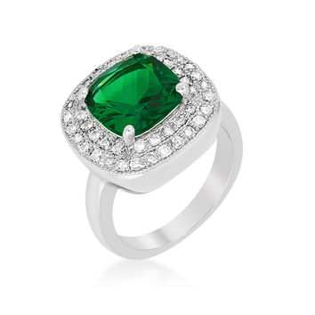Blair Emerald Green Cushion Cut Cocktail Ring | 5ct | Cubic Zirconia | Silver