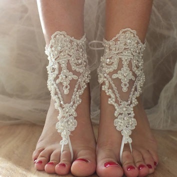Beach wedding barefoot sandals, free ship pearl embroidered sandals, ivory Barefoot , french lace sandals, wedding anklet, B003