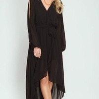 Tuscany Black Wrap Maxi Dress
