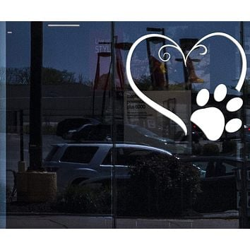 Window Sign Vinyl Wall Decal Heart Symbol Animal Foot Print Paw Pet Stickers (2361igw)