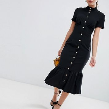 ASOS DESIGN corset midi dress with popper detail and pep hem at asos.com