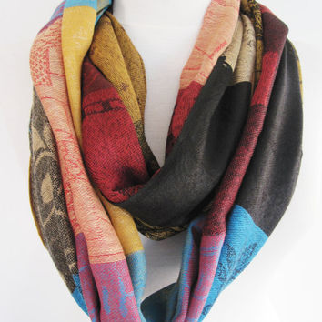 Colorful Pashmina Scarf or Shawl, Infinity Scarf, Loop Scarf, Gift, Christmas