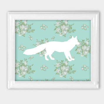 Floral Fox silhouette Print 8x10 5x7 11x14 colorful decor forest animal woodland kids room office decor white pastel mint turquoise