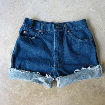 "90s Dark Wash Blue Jean Shorts High Waist Cut Off Denim Shorts Vintage 80s MOM Shorts Frayed LEE JEANS Hipster Boho Womens Medium 26"" Waist"