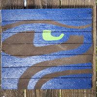Ready to ship, Father's Day Gift, Rustic Seahawks Eye Sign on Reclaimed Barn Wood