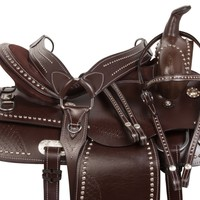 HAND TOOLED WESTERN PLEASURE TRAIL HORSE LEATHER SADDLE TACK SET 16 17 18