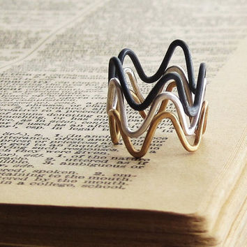 Stacking Zig Zag Rings - Sterling Silver and Brass