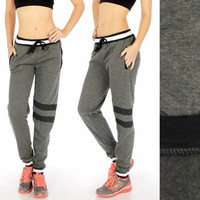 Two Tone  Knee Striped Jogger Pants in S-3X in 4 Colors