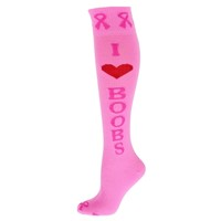 I Love BooBs Pink Ribbon Socks