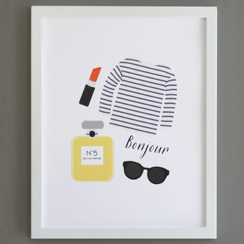 Paris Art Print - Bonjour. Wall Art