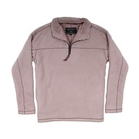 Bonded Polar Fleece & Sherpa Lined 1/4 Zip Pullover with Pockets in Sand by True Grit