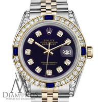 Rolex SS & Gold 31mm Datejust Watch Purple Dial with Sapphire & Diamond Bezel