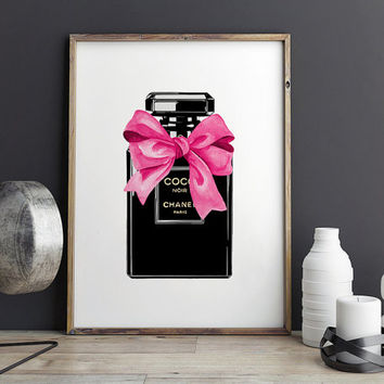 COCO CHANEL PERFUME,Makeup Print,Fashion Illustration,Wall Art,Makeup Illustration,Bathroom Decor,Digital Print,Gift For Her,Women Gifts