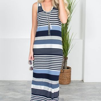 Navy Blue Block Striped Maxi Dress