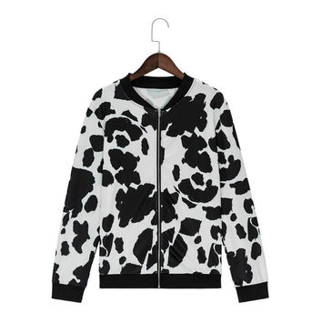 Printing Cows Women Jackets Casual Loose Long Sleeve Autumn Outwear Coats Fashion Bomber Baseball Jacket Manteaux Femme#C120 SM6
