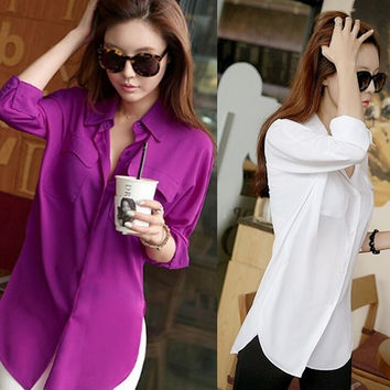2014 Hot Sale Loose Big Yards Chiffon Shirt Lapel Fake Pocket Blouse For Women = 1901122244