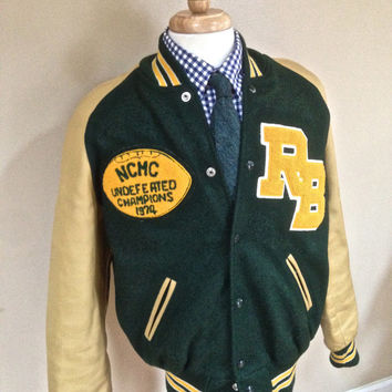 1970s Letterman Sports Jacket 1975 Undefeated State Football Champs! Boo Ya!!! 42 Large