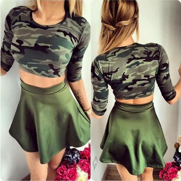 Camouflage Print Short Sleeve Top with Skirt